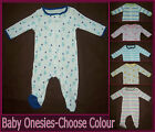 1x BABY COTTON ONESIES - 0 3 6 9 mths- Zip up CUTE One-Piece ROMPER Coverall New
