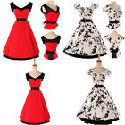 HOT SALE 50'S VINTAGE STYLE ROCKABILLY VTG PROM Dress In Red/White SIZE S M L XL