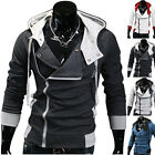 Top Designed Mens Slim Fit Slant Zip Casual Hoodie Outwear Jacket Coat Size XS-L