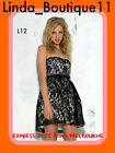L12 NWT Black Ladies Sweet Wedding Evening Ball Race Coktail Party Lace Dress