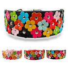 "2"" Width Sweet Flower Studded PU Leather Dog Pet Collars for Medium Large Dogs"