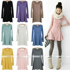 Fashion Women Soft Solid Plain Long Sleeve Casual Sweet Mini Skirts Jumper Dress