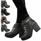 LADIES WOMENS MID HIGH HEEL ANKLE BOOTS GOLD BUCKLE LACE UP WINTER SHOES SIZE