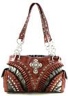 Western Cowgirl Rhinestone Cross Ruffle Tote Purse Handbag Zebra +3Colors