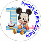 PERSONALISED BIRTHDAY  MICKEY MOUSE STICKERS SEALS GIFT FAVOURS INVITES KIDCS39