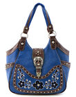 Western Rhinestone Belt Buckle Embroidery Flower Tote Purse Handbag Blue +4Color