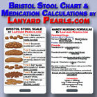 Nursing Calculation & Bristol Stool chart PVC lanyard reference card - MUST HAVE