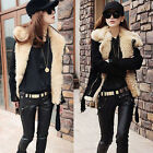 Hot Korean Style Womens Warm Lush Fur Winter Black Coat Outerwear Jacket Parka