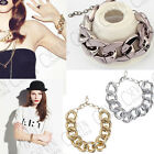 FASHION SHINY CHARM SIMPLE CHUNKY CURB CHAIN BANGLE BRACELET COSTUME JEWELLERY