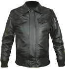 Vintage Men Leather Jacket Black YKK Zippers Sz S-5XL Colombian Couture