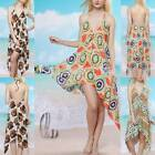Sexy V-Neck Backless Uneven Hem Soft Silk Feeling Beach Bikini Cover Dress sw012
