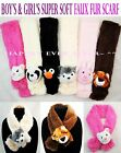 Внешний вид - Boy's & Girl's Super Soft Animal Faux Fur Scarf - Kid's & Teen's Winter Scarf