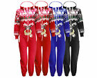GIRLS BOYS KIDS CHRISTMAS FESTIVE ZIP UP ALL IN ONE HOODY ONEZEE ONEZIE JUMPSUIT