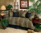 5pc Tan and Black Leopard Print Daybed Ensemble Daybed Cover Set