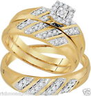 10K Yellow Gold His Her Men Woman .28ct Diamond Pave Wedding Ring Bands Trio Set