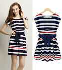 Women Lady Cotton Navy Stripe Round Neck Sleeveless Slim Skirt Dress