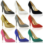 LADIES WOMENS MID HIGH HEEL COURT SHOES PARTY POINTED TOE STILETTO PUMPS SIZE