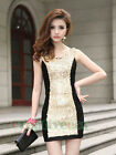Women's Chic Sexy Sequins Slim Stitching Pleated Mini Club Party Formal Dress