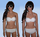 White Multiway Strapless / Halterneck Pushup Bandeau Bikini with Moulded Cups