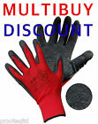 12 PAIRS OF LATEX RUBBER COATED NYLON SAFE GRIP WORK GLOVES BUILDERS GARDEN