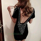 Fashion Women Girl Sexy Pearls Big V Neck Hip Package Dinner Party Mini Dress