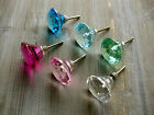 Faceted Glass Drawer Knobs Blue Pink Green Clear Cupboard Door Handles Pulls