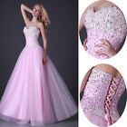 Stunning Strapless Beaded Tulle Bridesmaid Prom Ballgown Party Long Prom Dress