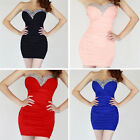 Womens Ladies Sexy Strapless Beaded Neck Party Cocktail Wrap Dress Evening Dress