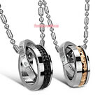 ETERNAL LOVE Stainless Steel Chain w/ Rings Pendant Couples Necklace 1pc or 2pcs