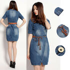 Summer New Fashion Lovely Mini Short Sleeve Denim Jeans Women Dress With Belt