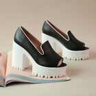Vintage Goth Women Pumps Platform Sandals Block High Heels Chunky Open Toe Shoes