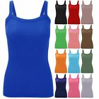 NEW WOMEN'S PLAIN STRETCHY LADIES RIBBED VEST TOP T SHIRT RIB STRAP SIZES 8-14