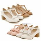 Womens Ladies Kitten Heels Wedge Ankle Strap T-Strap Bowknot Shoes Pumps Classic