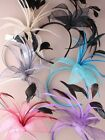 9387 Mesh fabric flower & feathers Fascinator Wedding Races Ladies Day Guest