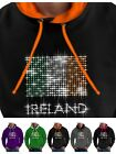 Ireland Hoodie Irish Flag Diamante Rhinestones St Patricks Mens Ladies Shirt Top
