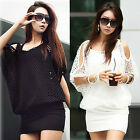 Women Sexy Dress Casual Party Mesh smock Lady Dresses Tops Black/White One Size