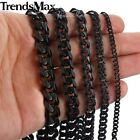 "18-36"" MENS Stainless Steel 3/5/7/9/11mm Black Curb/Cuban Link Chain Necklace"