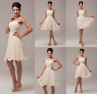 JS Short Mini Chiffon Ball Gown Bridesmaid Evening Wedding Party Prom Dresses