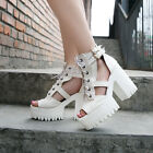 Punk Women Chunky Heels Platform Open Toe Buckle Strappy Creeper Lace Up Sandals