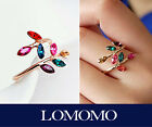 Multi Colours Swarovski Gemstones Olive Leaf Wrap Ring,18K Rose Gold Plated R463