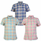 WOMENS TOKYO LAUNDRY INDIA LADIES SHORT SLEEVE CHECKED PRINT SHIRT TOP SIZE 8-16