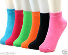 Lot 6-12 Pairs Womens Ankle Quarter Socks Solid Neon Multi Color Fashion Casual