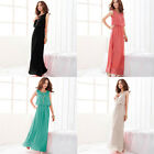 Ladies Bohenmia Pleated Wave Strap Princess Chiffon Maxi Long Dress Four Colors