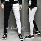 Two Tone Black & White Contrast Mens Slim Semi Jersey Baggy Sweat Pants Guylook