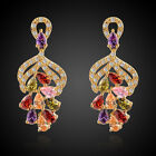 Jewelry Pretty Woman's Mix Colour Sapphire 10Kt Gold Filled Earrings Party Gift