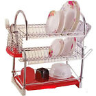 3 Tier Chrome Dish Plates Cutlery Glass Cup Drainer Rack Holder Drip Tray Home