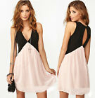 V Neck Sexy  girl lady  Deep Club Cocktail Party Dress Evening Mini Summer skirt