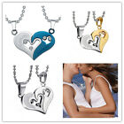 """I Love You ""Heart Pendant Chain Necklace Jewelry Gift 2 In 1 Stainless Steel"