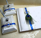 Wedding Guest Book & Matching Pen Set with Satin Ribbon & Peacock Feather