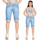 New Womens Blue Faded Distressed Long Denim Shorts Capri 3/4 Length Jeans Pants